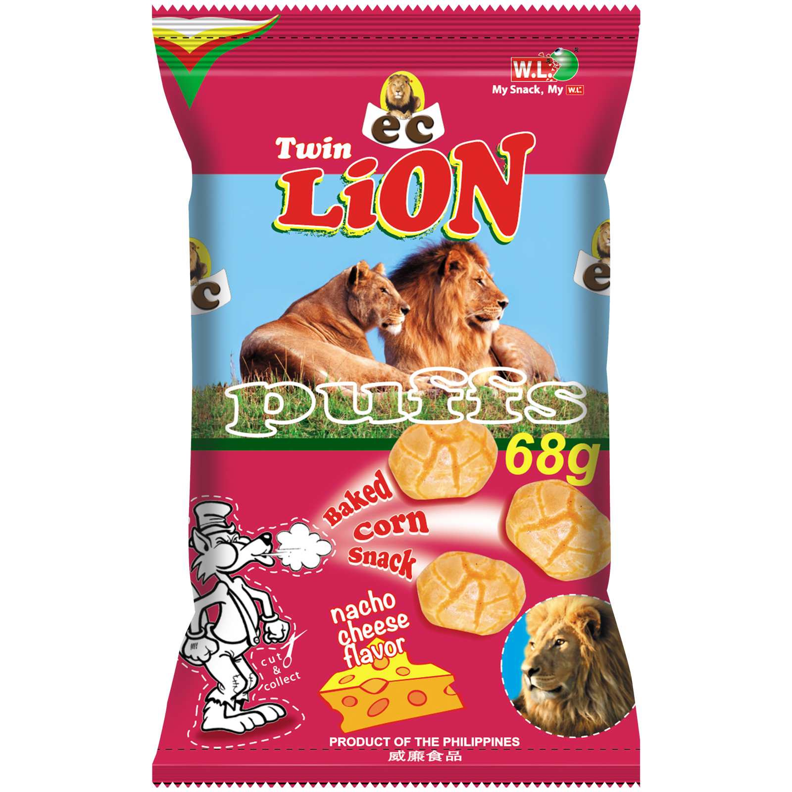 EC Twin Lion Puffs Nacho Cheese 68g