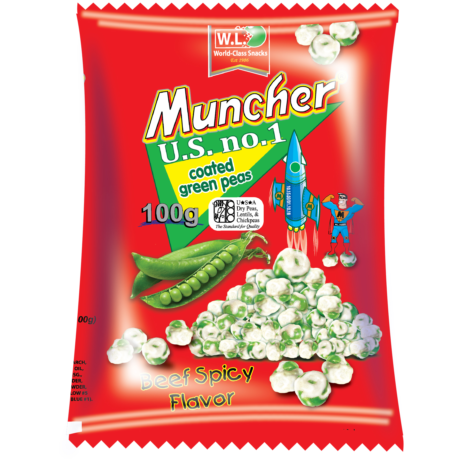 Muncher Green Peas Coated Beef Spicy Flavor 100g