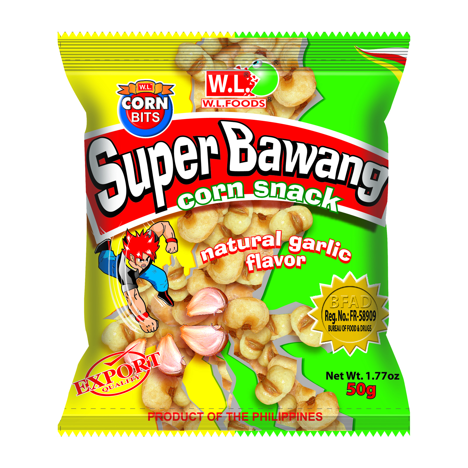 Super Bawang Corn Snack Natural Garlic Flavor 50g