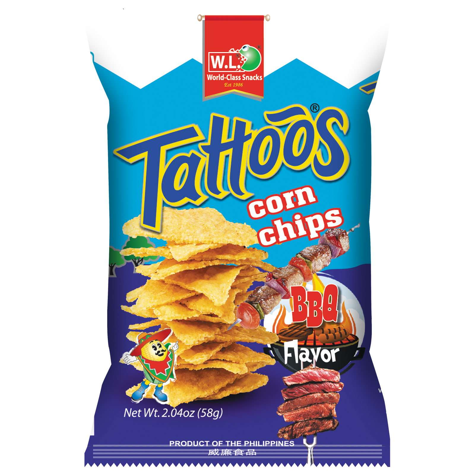 Tattoos Corn Chips BBQ Flavor 58g