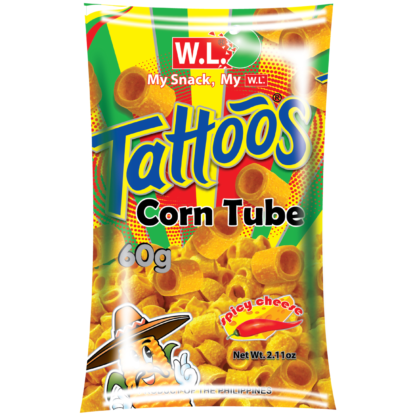 Tattoos Corn Tube Spicy Cheese Flavor 60g